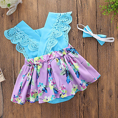 cheap Baby Girls' One-Piece-Baby Girls' Casual Daily / Going out Floral / Patchwork Lace up / Printing Sleeveless Cotton / Polyester Bodysuit Blue / Cute / Toddler