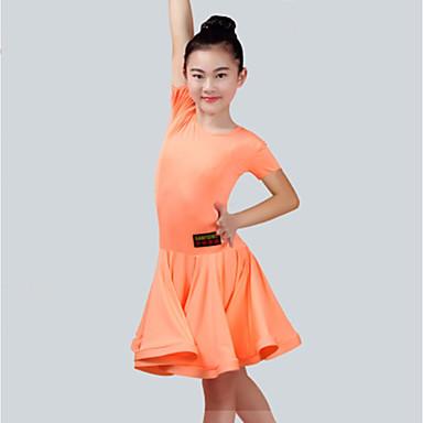 ריקוד לטיני שמלות בנות הצגה ספנדקס סלסולים שרוולים קצרים שמלה