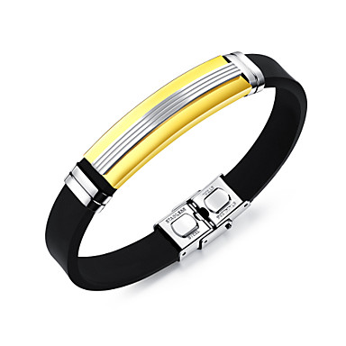 abordables Bracelet-Bracelet Jonc Bracelet ID Homme Acier inoxydable Mode Bracelet Bijoux Dorée Noir Argent Forme de Ligne pour Quotidien Sortie