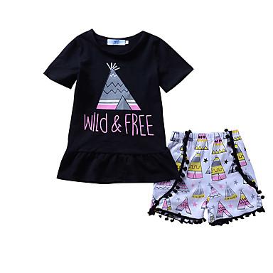 2974a4726 مجموعة ملابس قطن طويلة مكشكش / محاك بربطات هندسي / كواكب / طباعة مناسب  للعطلات / مناسب للخارج كاجوال للفتيات طفل صغير / جميل
