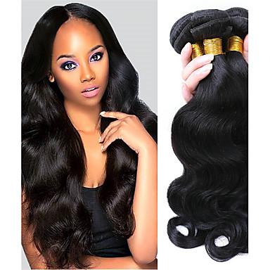 baratos Extensões de Cabelo Natural-3 pacotes Cabelo Brasileiro Onda de Corpo 10A Cabelo Virgem Cabelo Humano Ondulado Tramas de cabelo humano Extensões de cabelo humano