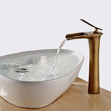 Moderne Tradisjonell Centersat Foss Keramisk Ventil Enkelt Håndtak Et Hull Antikk Messing, Baderom Sink Tappekran