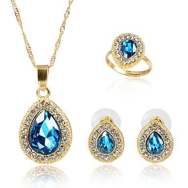 בגדי ריקוד נשים קריסטל סט תכשיטים - ציפוי זהב אופנתי לִכלוֹל סטי תכשיטי כלה כחול עבור Party / מתנה