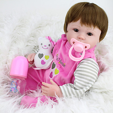 tanie Lalki Reborn-NPKCOLLECTION NPK DOLL Lalki Reborn Dziecko 18 in Silikon Winyl - Jak żywy Śłodkie Wyrób ręczny Bezpieczne dla dziecka Nietoksyczne Słodkie Dzieciak Dla dziewczynek Zabawki Prezent / Certyfikat CE