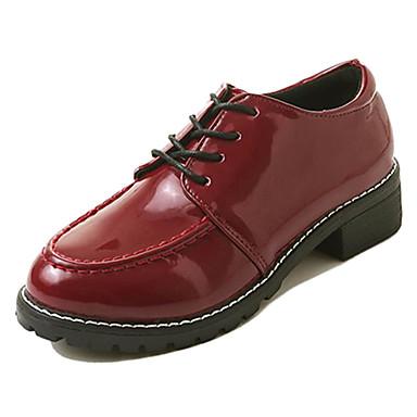 בגדי ריקוד נשים נעליים PU אביב נוחות נעלי אוקספורד עקב נמוך בוהן עגולה שחור / בורדו