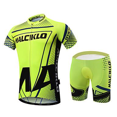 Malciklo Hombre Manga Corta Maillot de Ciclismo con Shorts - Verde Británico Bicicleta Sets de Prendas, Almohadilla 3D, Secado rápido,