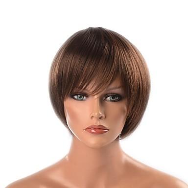 פאות סינתטיות Yaki Straight תספורת שכבות שיער סינטטי שיער טבעי חום פאה קצר / 28.7