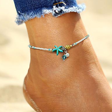 levne Dámské šperky-Dámské Nákotník šperky na nohy Mořská hvězdice Mušle dámy Cikánské Módní Cikánský Napodobenina perel Nákotník Šperky Bílá Pro Dovolená Bikini
