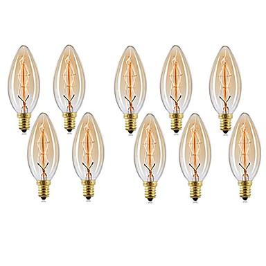 billige Elpærer-10pcs 40W E14 C35 Varm hvit 2200-2700 K Kontor / Bedrift Mulighet for demping Dekorativ Glødende Vintage Edison lyspære 220V-240V V