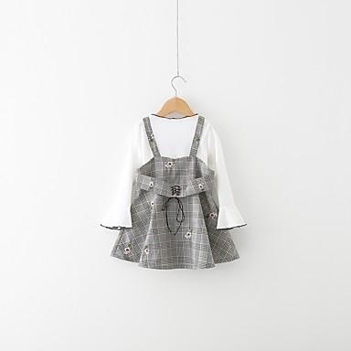 סט של בגדים כותנה פוליאסטר אביב שרוול ארוך יומי חגים אחיד בנות פשוט יום יומי לבן