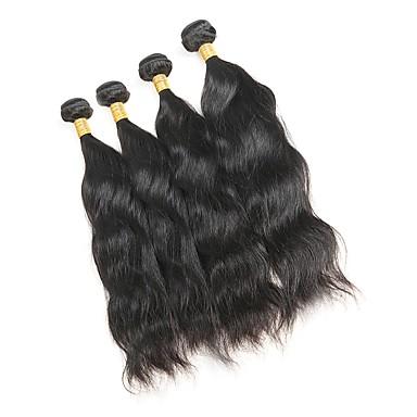 baratos Extensões de Cabelo Natural-4 pacotes Cabelo Malaio Ondulado Natural 10A Cabelo Natural Remy Cabelo Humano Ondulado Tramas de cabelo humano Extensões de cabelo humano