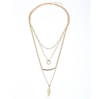 Damskie Warstwy Naszyjniki - Kształt listka Klasyczny, Moda Złoty 43 cm Naszyjniki Biżuteria Na Codzienny