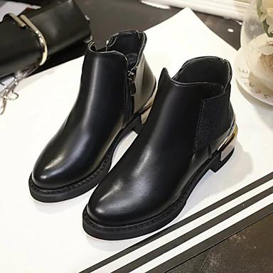 Tacón Otoño Mujer 06601249 Botas Primavera PU el Negro Botines Botas Zapatos de Tobillo Combate Hasta Cuadrado rqw8xgwtRF