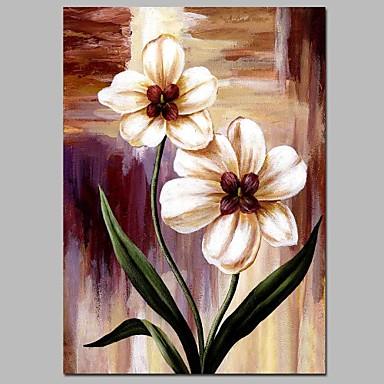 Hang-Malowane obraz olejny Ręcznie malowane - Kwiatowy / Roślinny Klasyczny Płótno / Rozciągnięte płótno