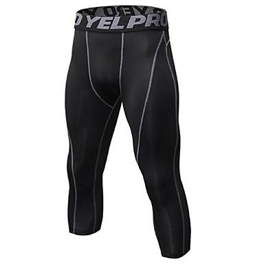 בגדי ריקוד גברים מכנסי 3/4 לריצה - שחור / כסף, שחור / אדום, שחור / ירוק ספורט 3/4 טייץ לבוש אקטיבי משקל קל, ייבוש מהיר, עיצוב אנטומי
