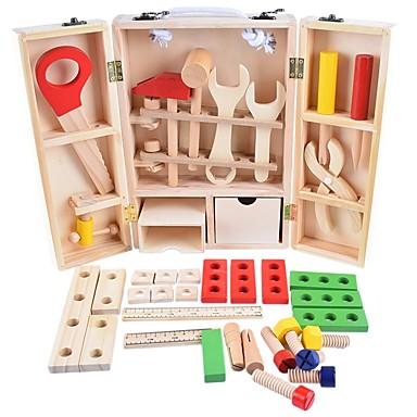 Wooden Child Carpenter Construction Tool Box Narzędzia do zabawy Znakomity Drewno Dla chłopców Dla dzieci Prezent 35 pcs