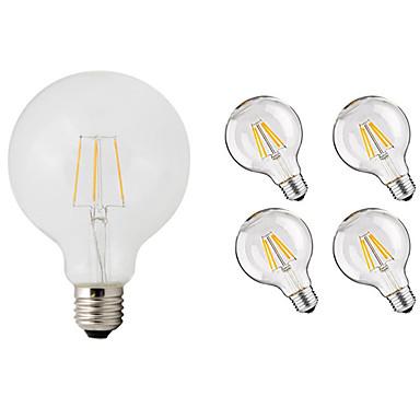 billige Elpærer-5pcs 4 W LED-glødepærer 360 lm E26 / E27 G95 4 LED perler COB Dekorativ Varm hvit 220-240 V