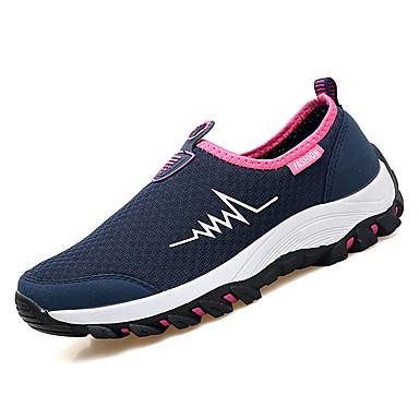 בגדי ריקוד נשים נעליים רשת נושמת אביב / סתיו נוחות נעלי אתלטיקה הליכה שטוח בוהן עגולה כחול כהה / אפור / אדום