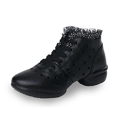 Női Tánccipők Bőr Sportcipő Szabadtéri Tűzött csipke / Egyoldalú üres Lapos Személyre szabható Dance Shoes Fekete