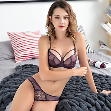 cheap Bras-All Flower Push-up Underwire Bra 3/4 Cup Boy shorts Panties Color Block Embroidered Sexy Cotton Daily Black Purple Wine