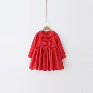 שמלה כותנה פוליאסטר אביב שרוול ארוך יומי ליציאה אחיד הילדה של חמוד פעיל אודם