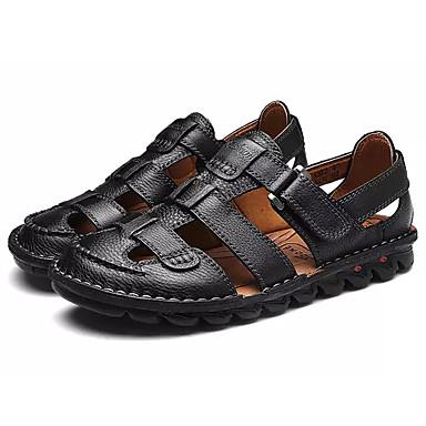 Męskie Komfortowe buty Skóra bydlęca Lato Sandały Czarny / Ciemnobrązowy