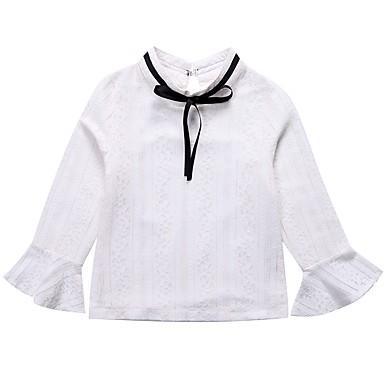 חולצה כותנה אביב סתיו שרוול ארוך יומי אחיד דפוס בנות פשוט חמוד לבן