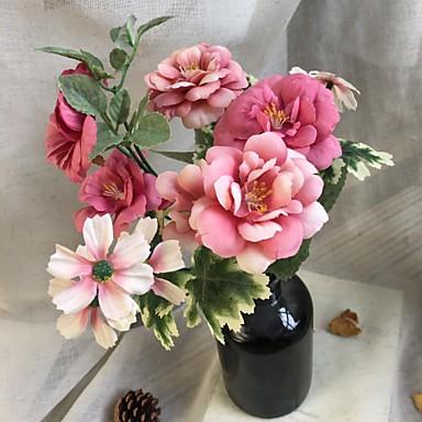פרחים מלאכותיים 1 ענף פרחי חתונה / פסטורלי סגנון Camellia פרחים לשולחן