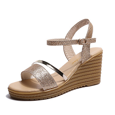 Mulheres Sapatos Couro Ecológico Verão Conforto Sandálias Salto Plataforma para Ao ar livre Dourado Prata