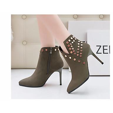 Mujer Zapatos Cuero Nobuck Invierno Confort / Botas hasta el Tobillo Botas Tacón Cuadrado Botines / Hasta el Tobillo Negro / Rojo / Azul TW6eOTjWwA