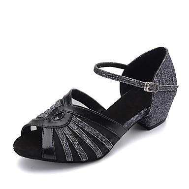 baratos Sapatos de Samba-Mulheres Sapatos de Dança Glitter / Sintético / Couro Sintético Sapatos de Dança Latina Sandália Salto Robusto Personalizável Preto e Prateado / Dourado / Prata / Profissional / EU39