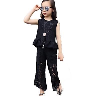 11ea63906a554 مجموعة ملابس بدون كم لون سادة   طباعة مناسب للعطلات أساسي   راقي للفتيات  أطفال