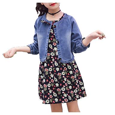 סט של בגדים כותנה פוליאסטר אביב קיץ שרוולים קצרים שרוול ארוך יומי חגים אחיד פרחוני בנות פשוט פעיל פול