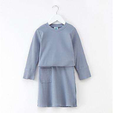 שמלה שרוול ארוך אחיד יומי / חגים פשוט / פעיל בנות ילדים / כותנה
