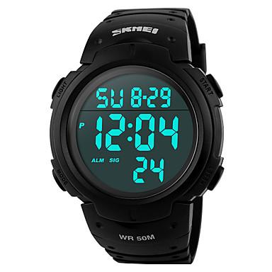 SKMEI Męskie Zegarek cyfrowy Sportowy Cyfrowe Alarm Kalendarz Chronograf Wodoszczelny LCD Guma Pasmo Nowoczesne Czarny