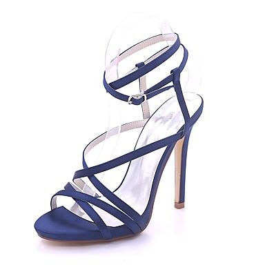 Mujer Zapatos Cuero Sintético Primavera verano Pump Básico Sandalias Tacón Stiletto Puntera abierta Hebilla Dorado / Plata KzeW1IbUfQ