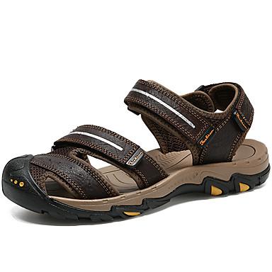 Men's Faux Comfort Leather Spring / Summer Comfort Faux Sandals Red / Dark Brown 785659