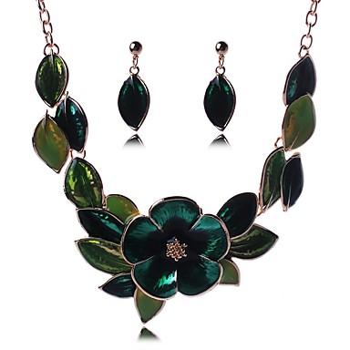 בגדי ריקוד נשים סט תכשיטים - Leaf Shape, פרח אופנתי לִכלוֹל עגילי טיפה / שרשראות תליון ירוק עבור יום הולדת / טקס