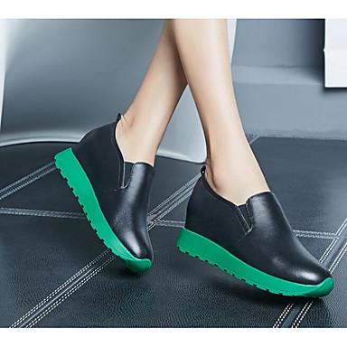Chaussons Hauteur Blanc Chaussures Confort Noir D6148 06600404 Femme Cuir Automne semelle et compensée Mocassins Printemps de BOz0Wq