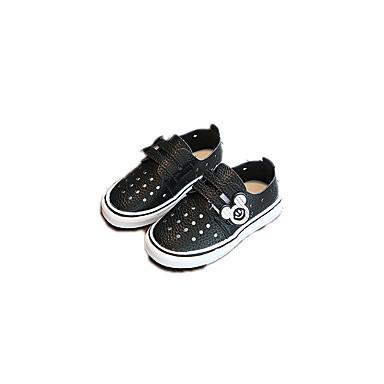 בנות נעליים עור / PU אביב נוחות / סוליות מוארות שטוחות ל לבן / שחור / ורוד