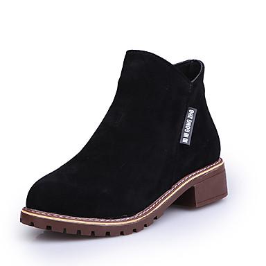 Pentru femei Pantofi Piele de Căprioară Toamna iarna Cizme de Combat Cizme Blocați călcâiul Negru / Verde Militar / Maro Închis