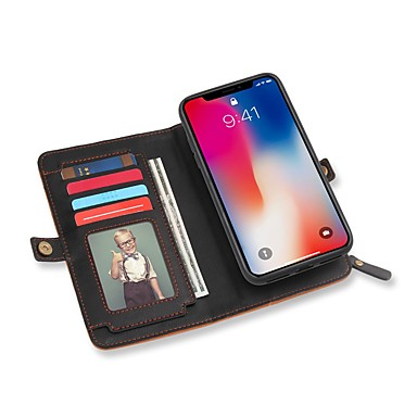 מגן עבור Apple iPhone X מחזיק כרטיסים ארנק עם מעמד נפתח-נסגר כיסוי מלא צבע אחיד קשיח עור PU ל iPhone X