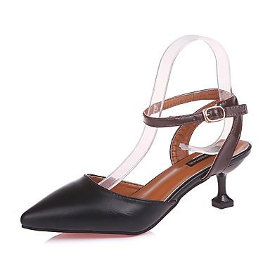 Naisten Kengät PU Talvi Maiharit Comfort Bootsit Kävely Paksu korko Pyöreä kärkinen Vetoketjuilla varten Kausaliteetti Valkoinen Musta