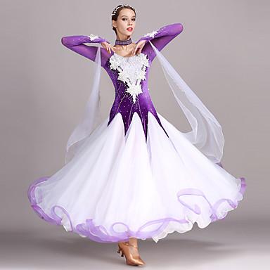 Für den Ballsaal Kleider Damen Training Leistung Tüll Samt Applikationen Kristalle / Strass Langarm Hoch Kleid Neckwear