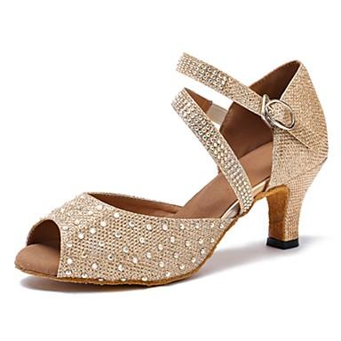 baratos Sapatos de Salsa-Mulheres Sapatos de Dança Courino Sapatos de Dança Latina Pedrarias Sandália / Salto Salto Personalizado Personalizável Dourado / Profissional