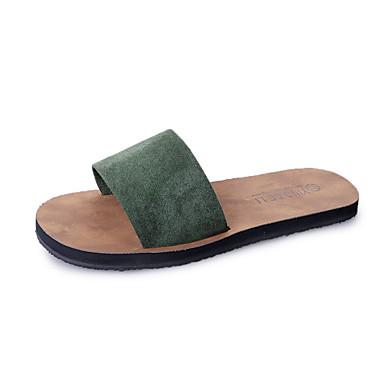 Women's Feather / Fur Fall Comfort Sandals Flat Heel Round Toe Black / Green / Khaki