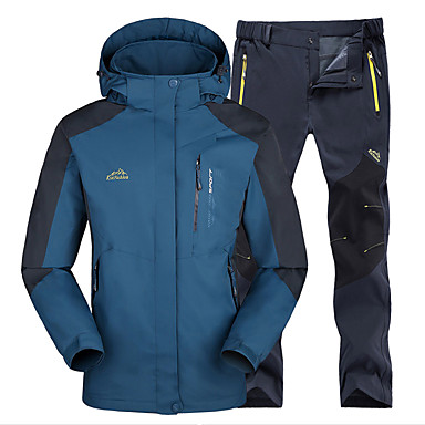 050ef2f3216a4 Men's Solid Color Hiking Jacket with Pants Outdoor Waterproof Thermal / Warm  Windproof Winter Jacket Top