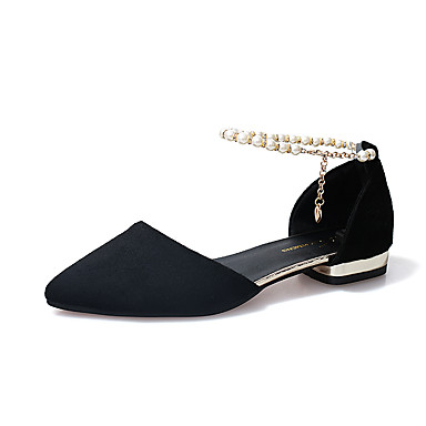 Women's PU(Polyurethane) Summer Comfort / Light Soles Slippers & Flip-Flops Kitten Heel Pointed Toe Black / Gray / Red