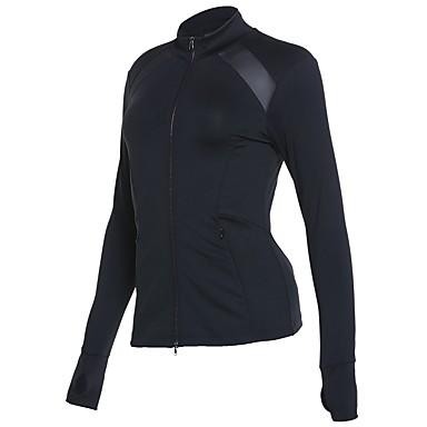 בגדי ריקוד נשים ג'קט לריצה - שחור ספורט סווטשירט שרוול ארוך לבוש אקטיבי ייבוש מהיר קשיח