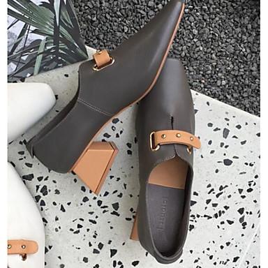 Printemps Chaussures Talon Bottier 06589738 à Blanc foncé Femme Talons Automne Confort Chaussures Gris Cuir qwyBEXf